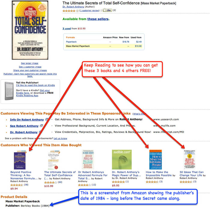 Amazon screen shot of the Ultimate Secrets of Total Self-Confidence